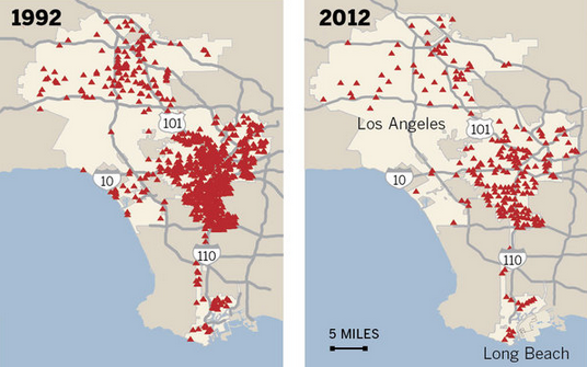 Homicides in Los Angeles 1992 vs 2012