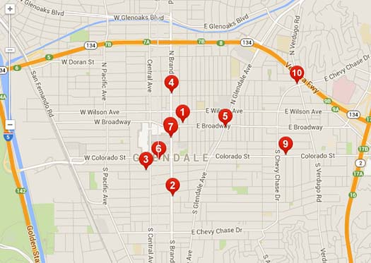 Yelp Map of Glendale Restaurants