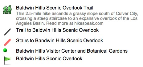 Baldwin Hills Scenic Overlook Map Key