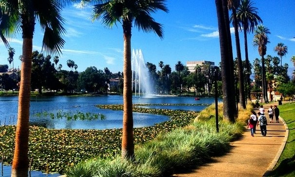 Echo Park Lake in Los Angeles