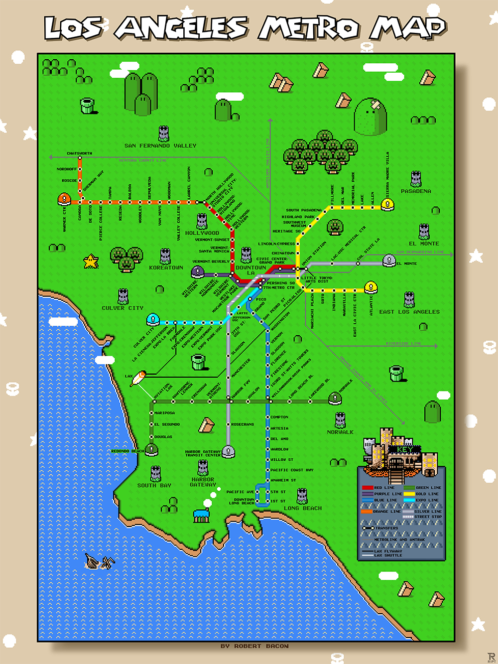This Is What A Super Mario Bros Map Of The Los Angeles Metro Looks - Los angeles in map