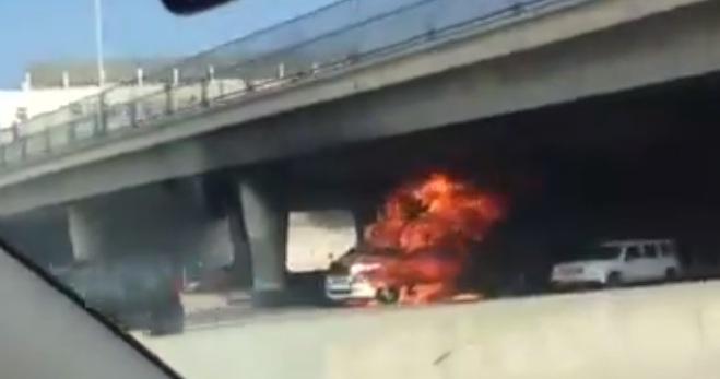 Big Rig Fire on 10 Freeway Los Angeles