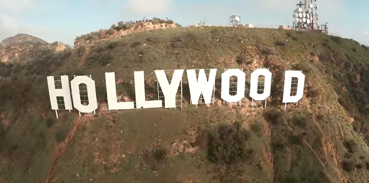 Drone Footage Hollywood Sign
