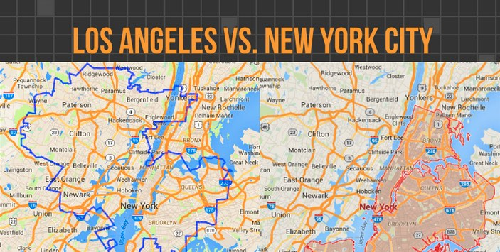 Los Angeles vs. New York Map Comparison