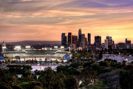 Dodger Stadium and the Downtown Los Angeles Skyline