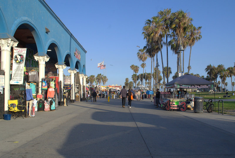 Walking along the Venice Beach Boardwalk