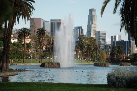 Echo Park Lake and Downtown Los Angeles