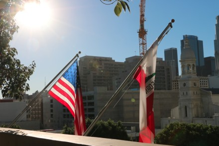 DTLA with American Flag in Foreground
