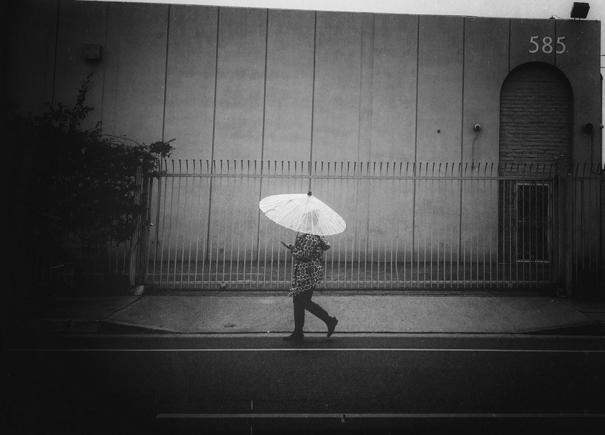 Walking in Rain in Los Angeles