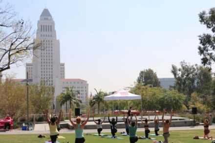Lunchtime Yoga at Grand Park. Credit: Brian Champlin / We Like L.A.