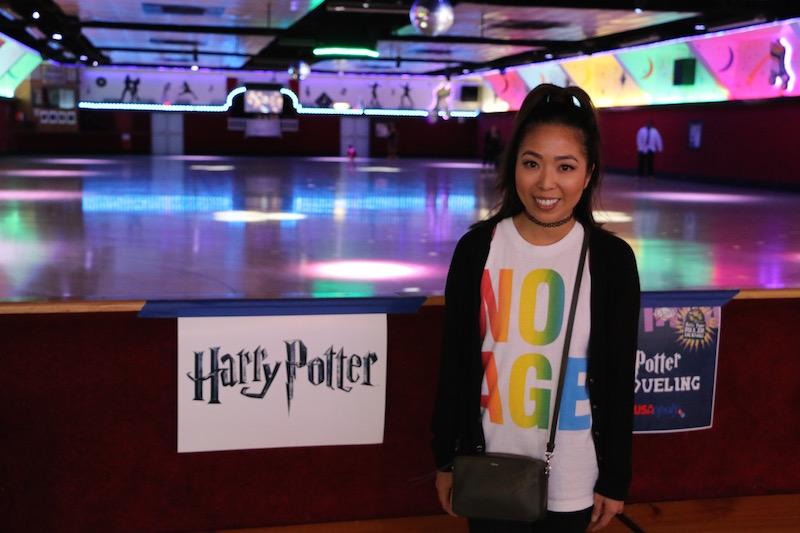 Posing at Harry Potter Rollernight