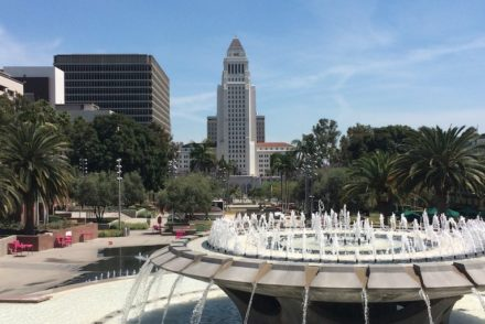 Grand Park fountain and city hall
