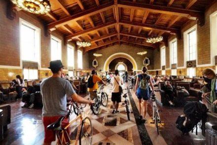 Walking Bikes in Union Station