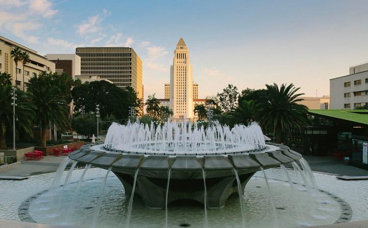 Grand Park fountain with City Hall