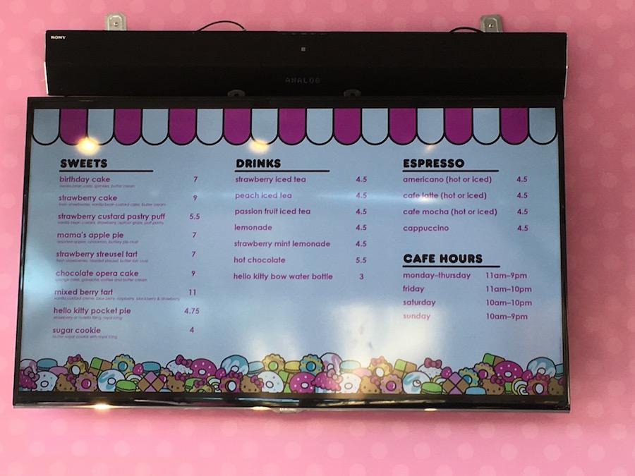 Hello Kitty Cafe Menu