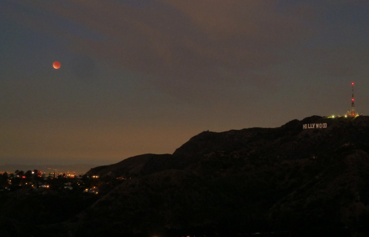 Lunar eclipse from Griffith Observatory