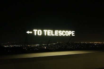 Telescope sign Griffith Observatory