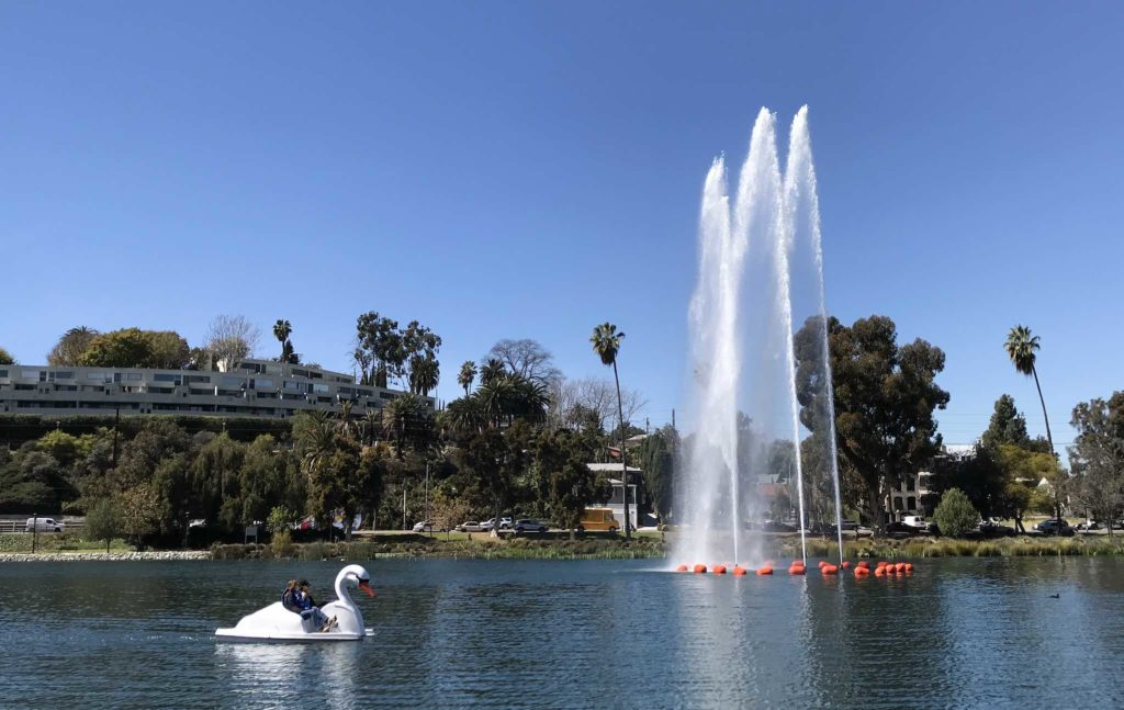Swan boat on Echo Park Lake