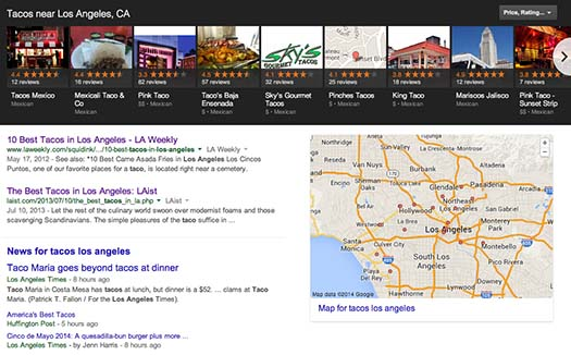 Google Search Tacos in Los Angeles