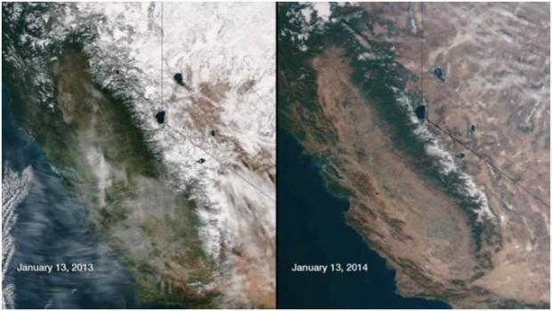 California Extreme Drought Satellite Map