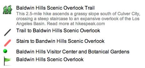 Baldwin Hills Scenic Overlook Map Key