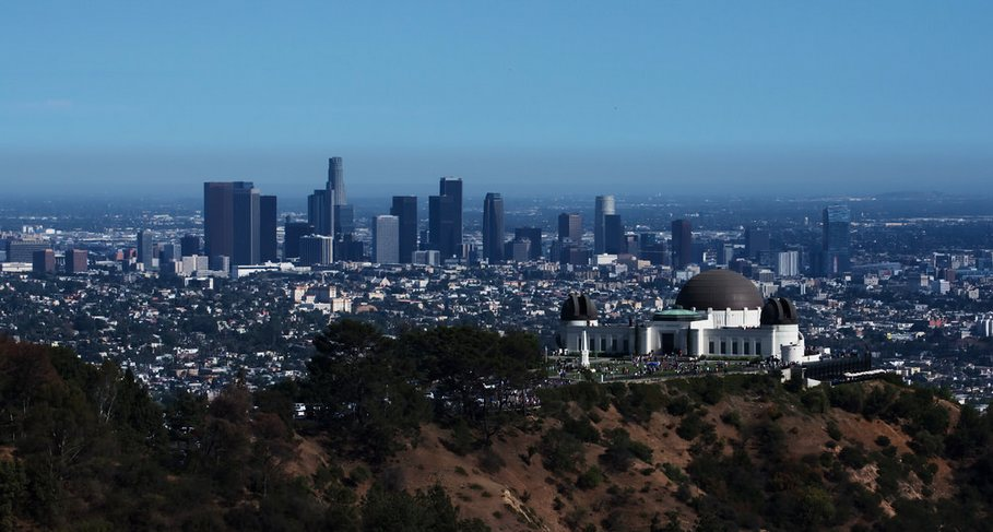 The Griffith Observatory with Downtown Los Angeles in the background