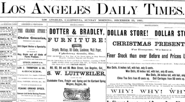 L.A. Daily Times Christmas 1881