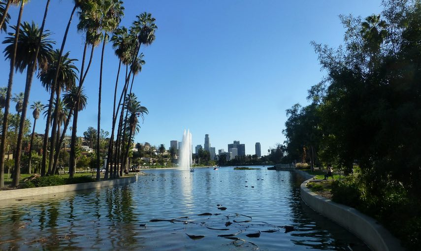 Echo Park Lake view DTLA