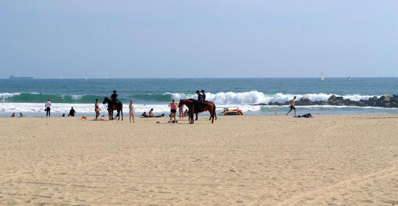 The Policemen at Venice Beach Stroll Along the Beach