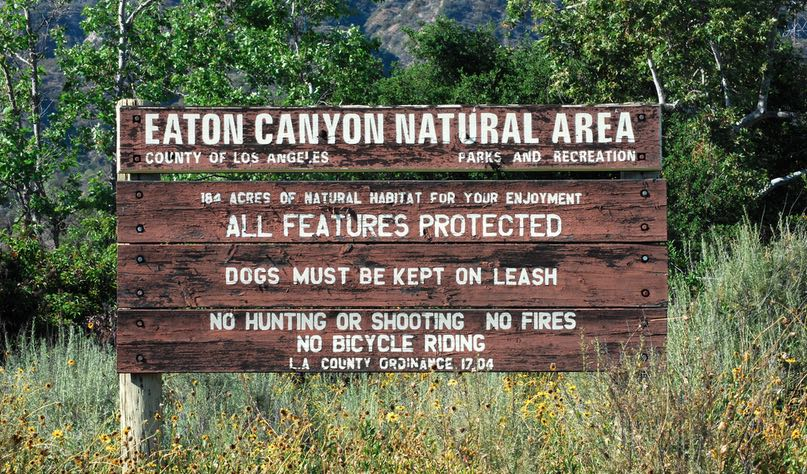 Eaton Canyon Natural Area Sign