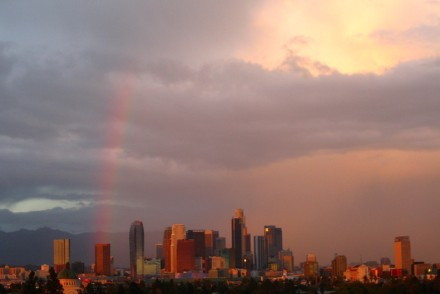 Rainbow during rainy day in Los Angeles