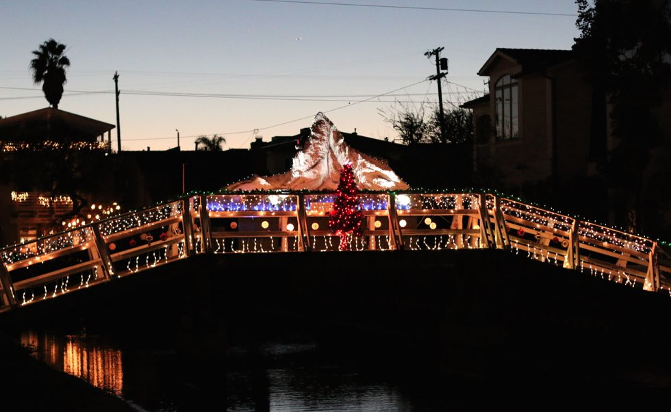 Venice Canals Christmas Lights on Display