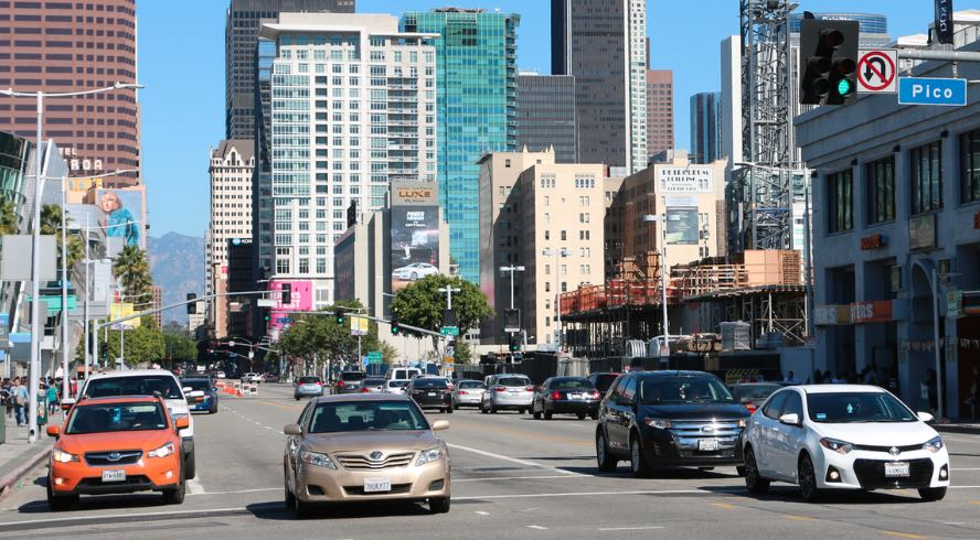 Driving in Downtown Los Angeles