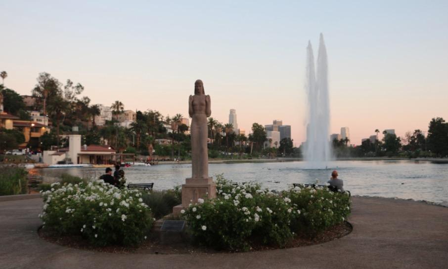 Echo Park Lake at dusk
