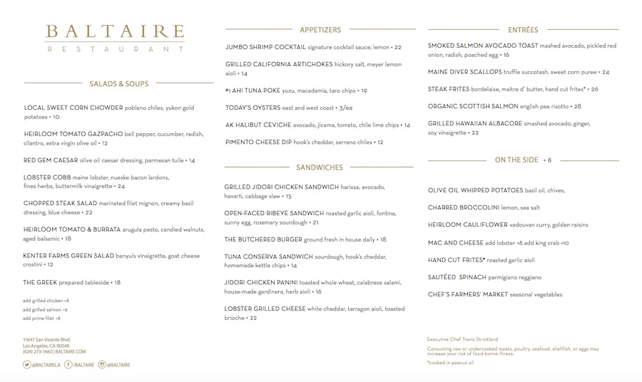 baltaire lunch menu