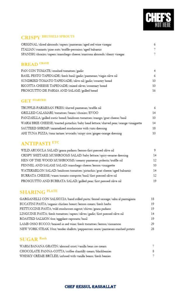 chefs not here menu