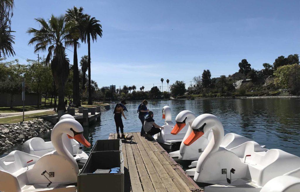 Swan boat prep Echo Park Lake