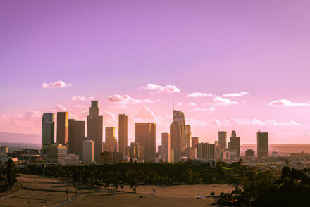 Downtown Los Angeles skyline during sunset