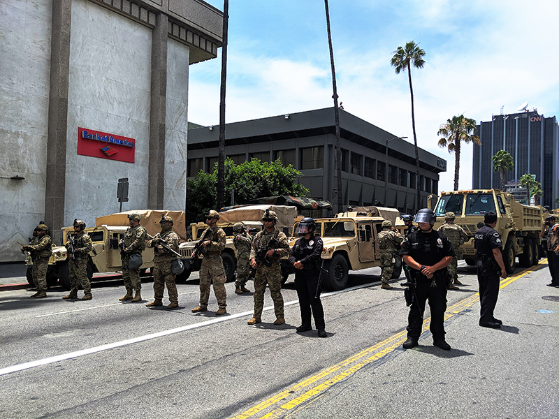 Police and National Guard at Black Lives Matter protest in Hollywood.