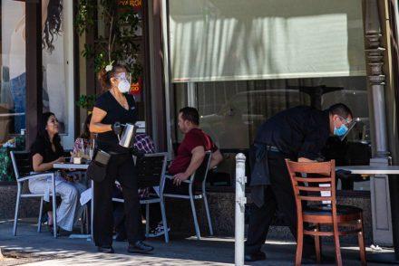 Mask wearing restaurant workers in Pasadena