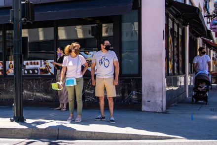 People wearing masks in Old Town Pasadena